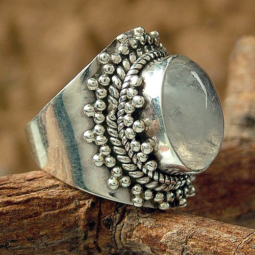 Rainbow Moonstone Cocktail Ring from India Sterling Silver 'Radiant Moon'