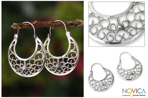 Fine Silver Hoop Earrings from Peru 'Climbing Vines'