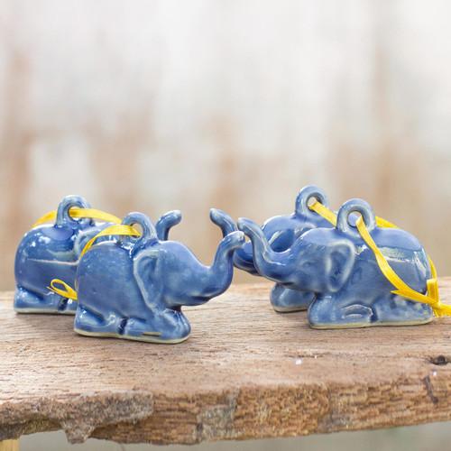 Celadon ceramic ornaments (Set of 4) 'Blue Holiday Elephants'