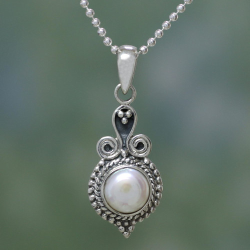 Artisan Crafted Sterling Silver Necklace with Pearl Pendant  'Cloud of Desire'