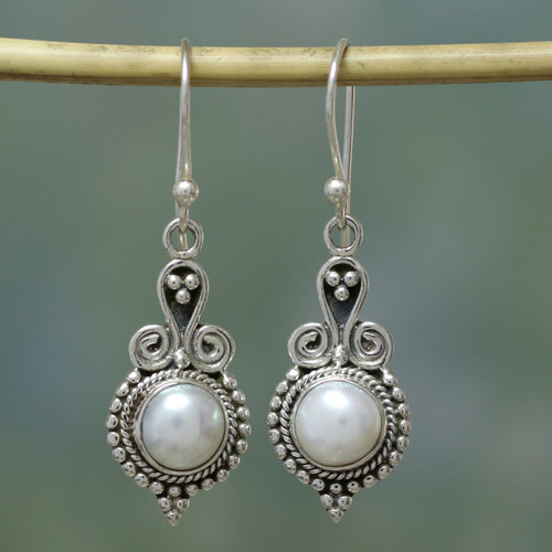 Pearl Earrings Sterling Silver Handmade Indian Jewelry 'Clouds of Desire'