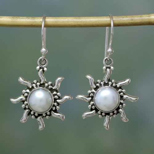 Pearl Earrings Sun and Moon Sterling Silver Pendant 'Quiet Sun'