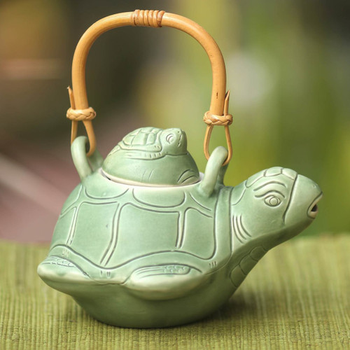 Fair Trade Ceramic Teapot  'Turtle Mom'