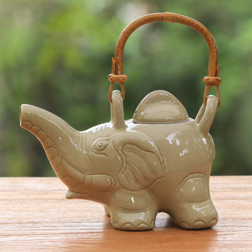 Handcrafted Ceramic Teapot 'Elephant Cream Tea'