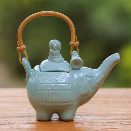 Handmade Blue Ceramic Teapot  'Buddha and the Turquoise Eleph'
