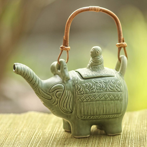Artisan Crafted Ceramic Teapot 'Buddha and the Jade Elephant'
