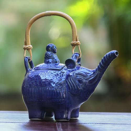 Handcrafted Ceramic Teapot 'Buddha and Sapphire Elephant'