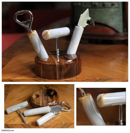 Hand Made Agate Bottle Opener Set (Set of 3) 'Nature's Ashen Bar'
