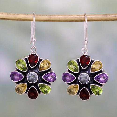 Amethyst Garnet Earrings Blue Topaz Sterling Silver Jewelry 'Summer Blossoms'