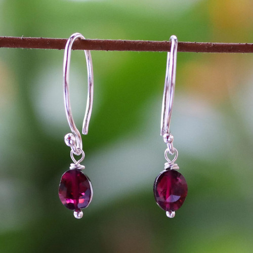 Sterling Silver and Garnet Dangle Earrings 'Glowing Exotic'