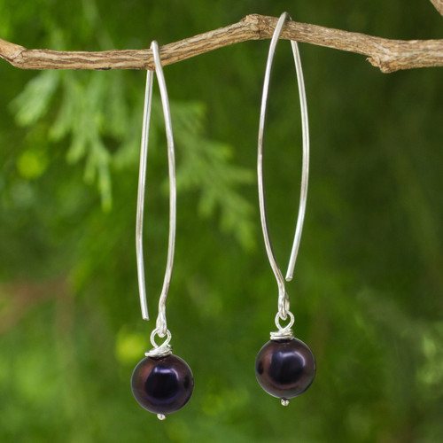 Sterling Silver and Pearl Dangle Earrings 'Sublime Darkness'