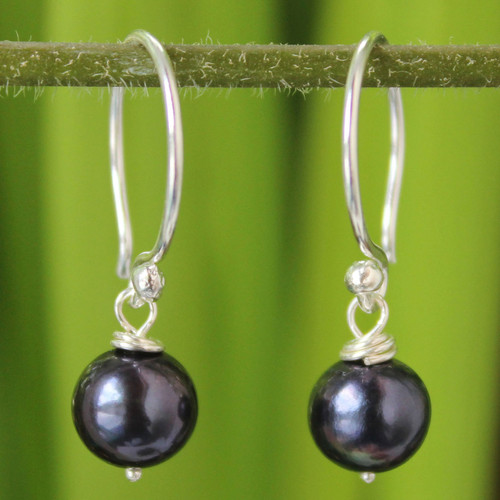 Sterling Silver and Pearl Dangle Earrings from Thailand 'Night Queen'