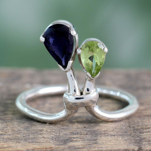 Iolite and Peridot Ring India Silver Jewelry 'You and Me'