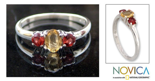 India Jewelry Citrine and Garnet Sterling Silver Ring 'Passionate Embrace'