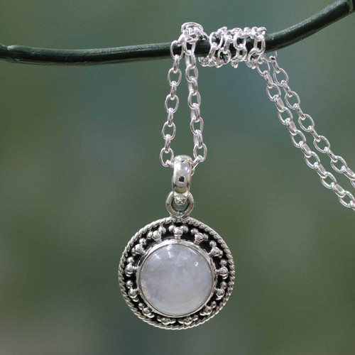 Rainbow Moonstone Jewelry Indian Sterling Silver Necklace 'Lavish Moon'