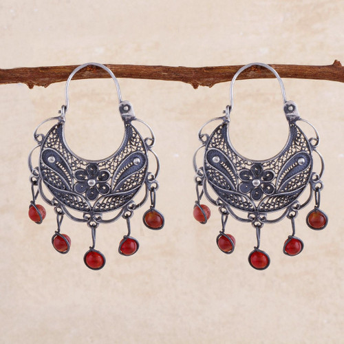 Unique Floral Fine Silver Filigree Earrings with Carnelians 'Dancing'
