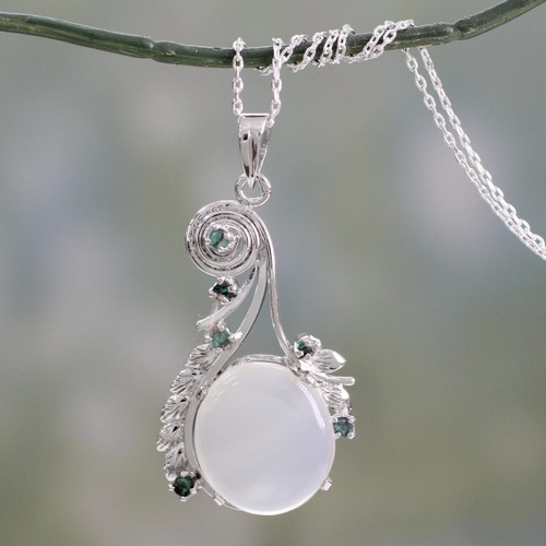 Fair Trade Jewelry Sterling Silver and Moonstone Necklace 'Enchanted Moon'