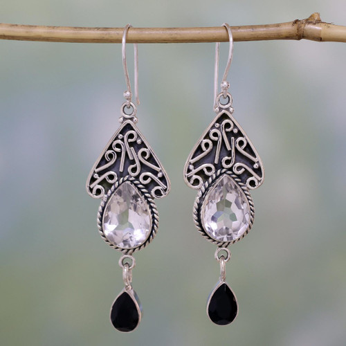Quartz and Onyx Silver Dangle Earrings 'Queen of Jaipur'