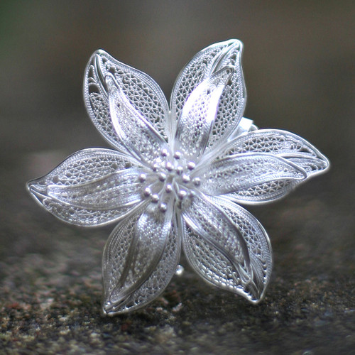 Filigree Flower Sterling Silver Brooch Pin 'Tiger Lily'