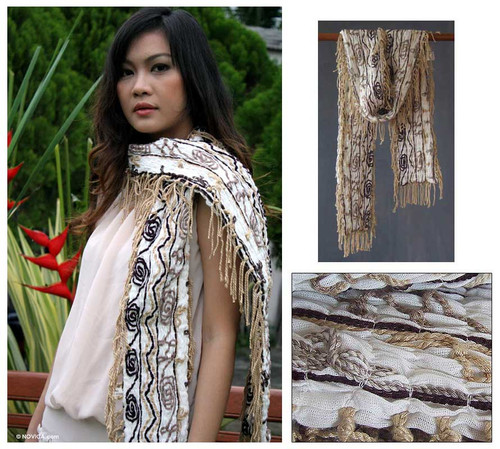 Cotton scarf 'Paradise on Earth'