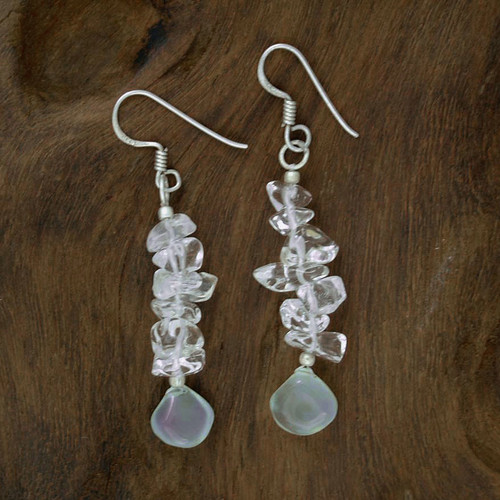 Hand Crafted Quartz and Chalcedony Earrings from India 'Icicles'