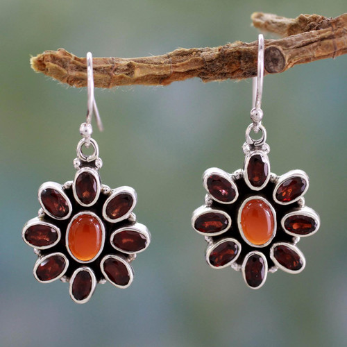 Carnelian Floral Earrings with Garnet Petals 'Passionate'