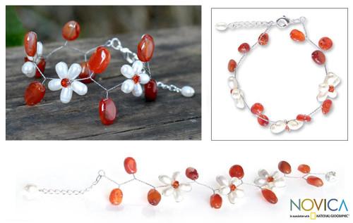 Unique Pearl and Carnelian Flower Bracelet 'Bright Dream'