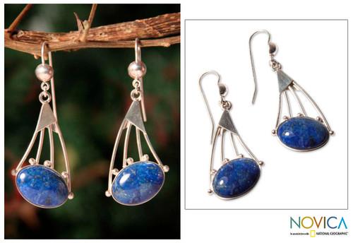 Modern Sterling Silver Dangle Lapis Lazuli Earrings 'Inca Comets'