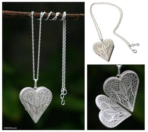 Fair Trade Filigree Heart Locket Necklace 'Loving Heart'