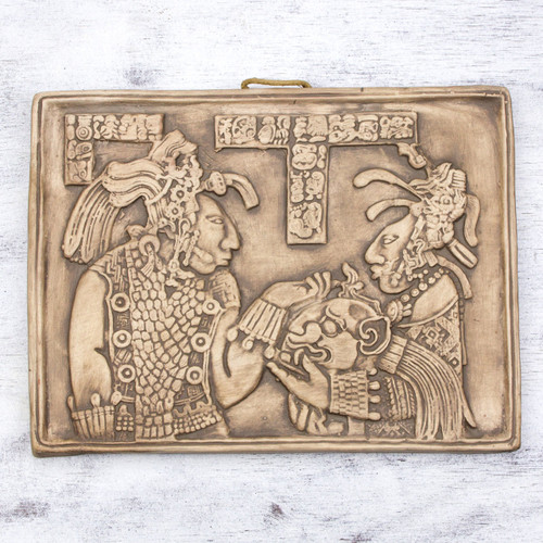 Handcrafted Ceramic Plaque Replica from Palenque 'Maya Ruler and Wife'