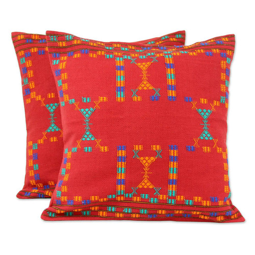 Cotton Red Cushion Covers Set 2 Throw Pillows 'Sequences'