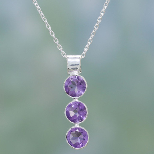 Hand Made Amethyst and Sterling Silver Necklace from India 'Lilac Trio'