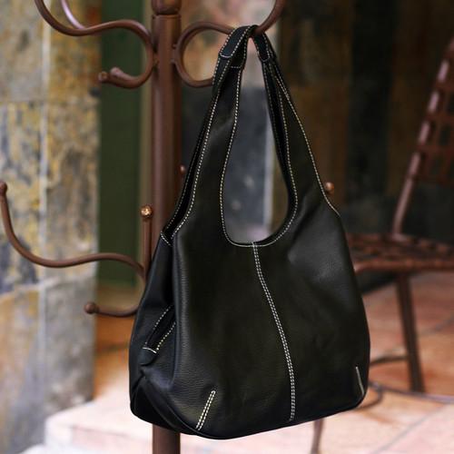 Black Leather Handbag from Mexico 'Urban Legend'