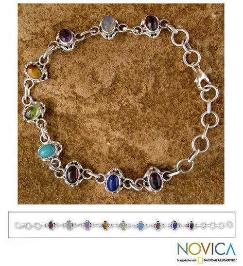 Sterling Silver Link Multigem Bracelet from India 'Color Medley'