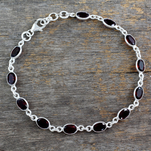 Garnet Tennis Bracelet Sterling Silver Handmade in India 'Romantic Red'