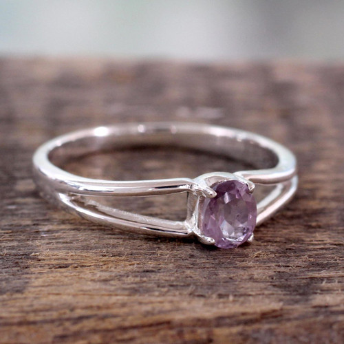 Sterling Silver and Amethyst Ring 'Lilac Solitaire'