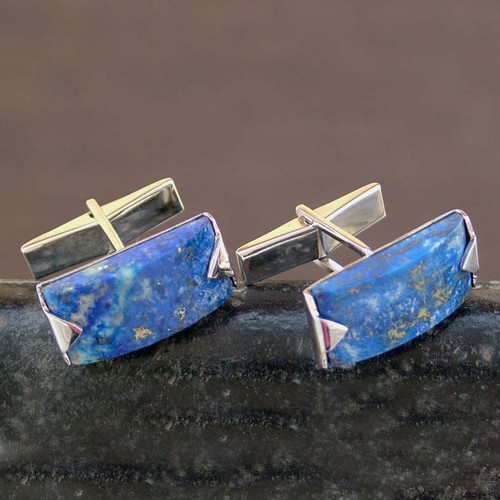 Modern Sterling Silver Lapis Lazuli Cufflinks 'Blue Intensity'