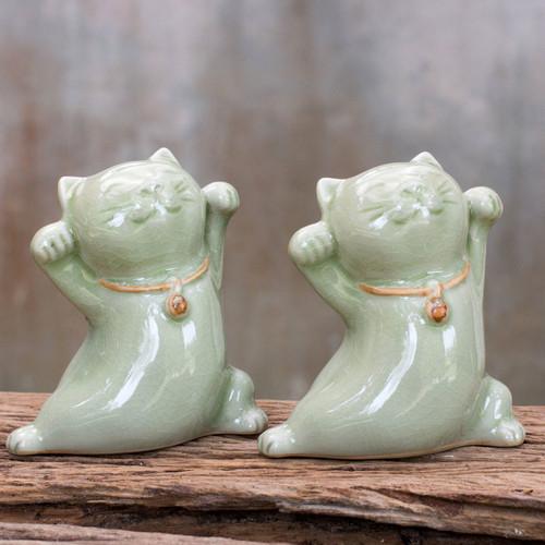 Thai Celadon Ceramic Sculptures (Pair) 'Good Luck Cats'