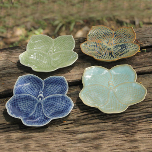 Celadon Ceramic Dessert Plates (Set of 4) 'Orchids'