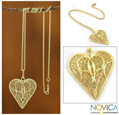 Handcrafted Heart Shaped Gold Plated Filigree Necklace 'Filigree Heart'