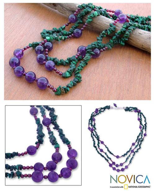 Malachite and amethyst strand necklace 'Jacaranda Passions'