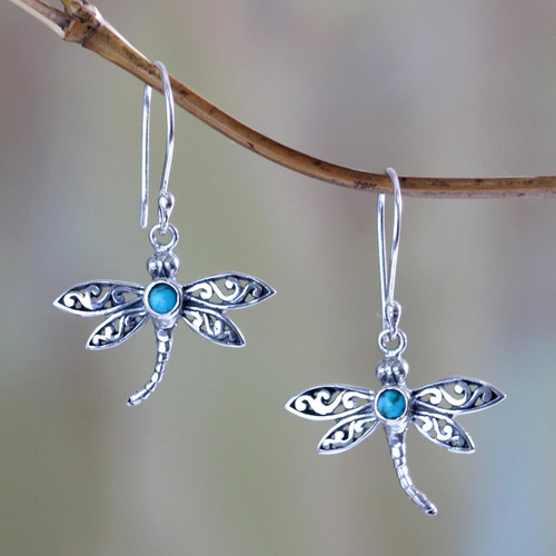 Reconstituted Turquoise and Silver Earrings 'Enchanted Dragonfly'