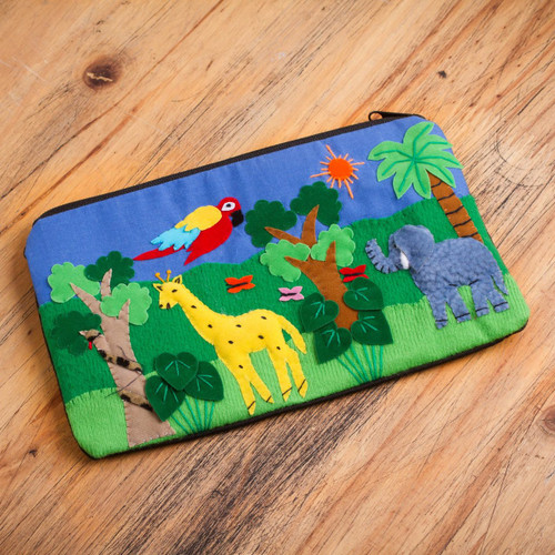 Cotton Applique Folk Art Cosmetic Bag 'Jungle Friends'