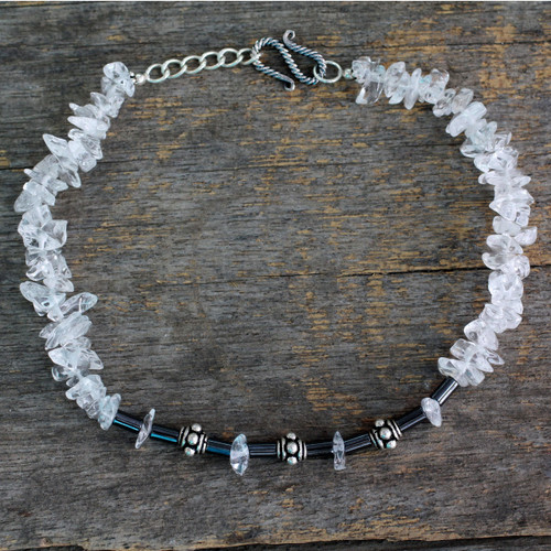 Sterling Silver with Quartz and Hematite Anklet from India 'Ice Princess'