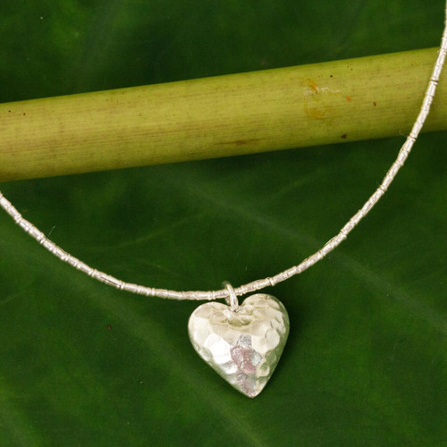 Handcrafted Heart Shaped 950 Silver Pendant Necklace 'Heartbeat'