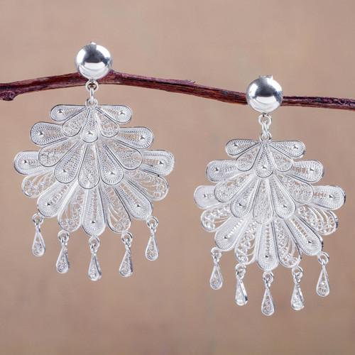 Sterling Silver Filigree Chandelier Earrings 'Silver Dance'