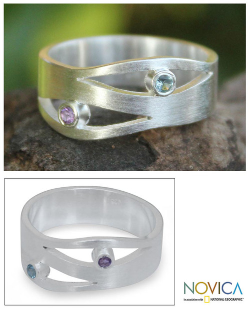 Amethyst and Blue Topaz Silver Ring 'Revelations'