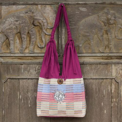 Unique Cotton Shoulder Bag from Thailand 'Siamese Blush'