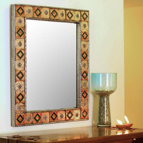 Repoussé Copper Mirror India Ceramic Wall Art Handmade 'Autumn Warmth'