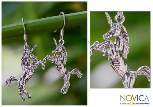 Sterling Silver Dangle Earrings from Thailand 'Dance of the Unicorns'